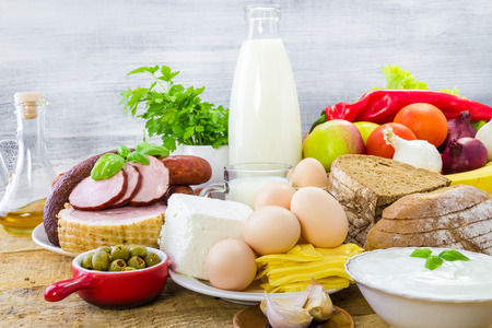 Composition with grocery products including dairy, vegetables, fruits and meat