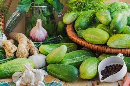 pickling: Preparing for pickling cucumbers: the various components Stock Photo