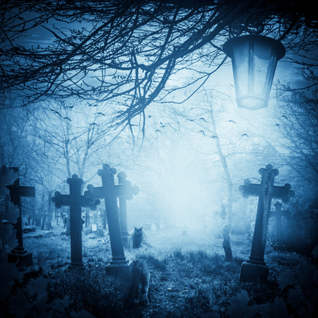rood: Halloween illustration: night at the cemetery. Old graves, cats and lanterns Stock Photo