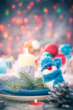 Festive table. Christmas and New Year decorations and Christmas Eve dishes photo