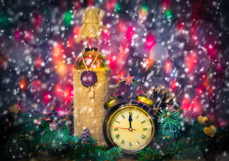 Festive Christmas clock with the time twelfth in New YEAR photo