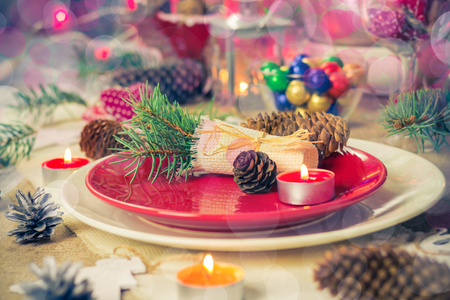 candle light table setting: Festive table. Christmas decorations and Christmas Eve dishes