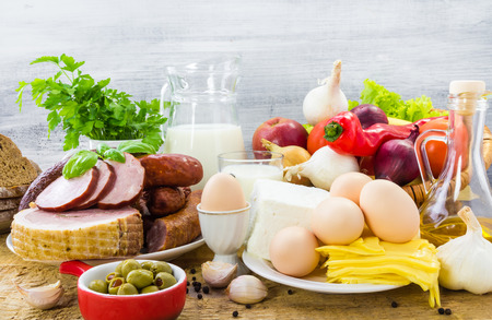 Composition with variety of grocery products including meat and dairy