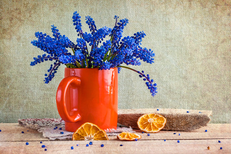 Still life with a bouquet of spring flowers blue Фото со стока
