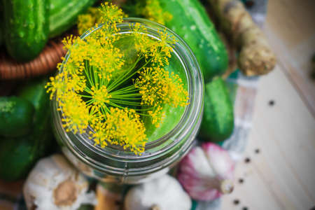 pickling: Top view of a jar of pickles and other ingredients for pickling