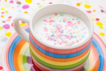 milkshake: Spring drink: vanilla milkshake with sprinkles