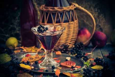 A glass of tincture of chokeberry in autumn vintage styling Фото со стока