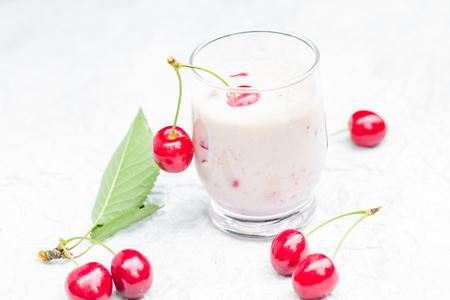 Refreshing summer drink: fruit cocktail cherries