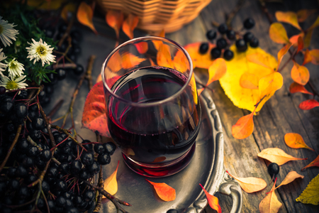 Herbst in der Küche: Tinktur aus Aronia Landschaft Jahrgang Standard-Bild - 61797738