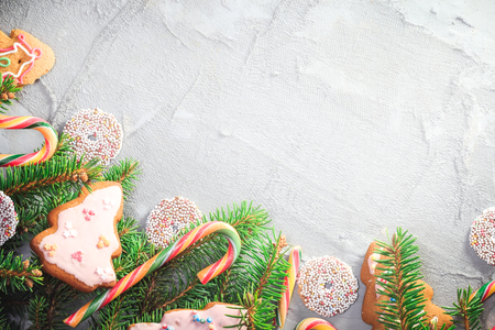 Background with Christmas delicacies with decorations and space for text Фото со стока