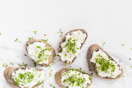 Healthy breakfast: sandwiches with white cream cheese and croissants