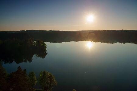 masuria: Lake W?giel Masuria Poland sunrise.