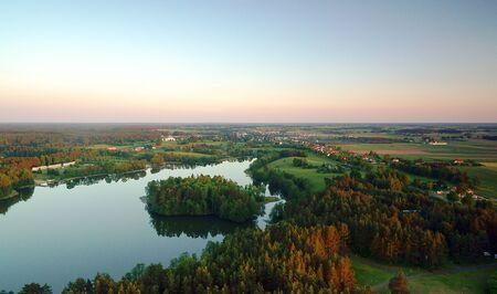 masuria: Lake W?giel Masuria Poland sunset. Stock Photo