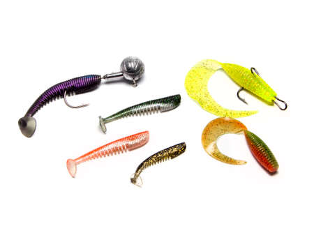 Silicone bait for fishing on an isolated white background photo