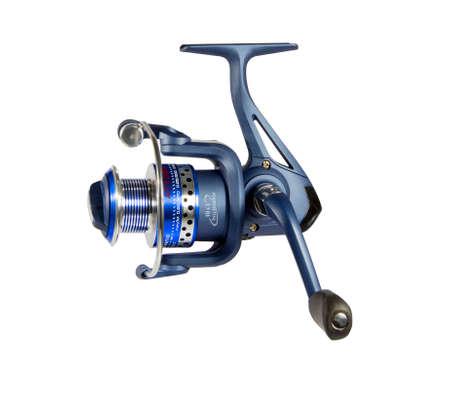 fishing reel: blue fishing reel isolated on white background Stock Photo