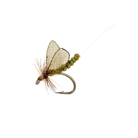 color image fish hook: Fly fishing lure isolated on white background