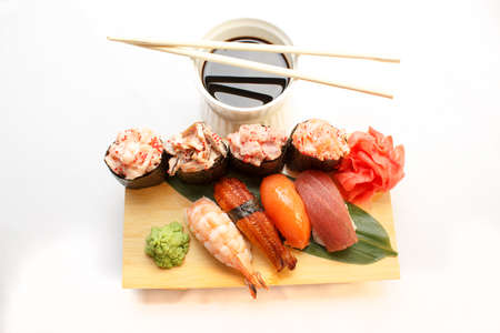 Japanese poppies, sushi, rolls with wasabi and ginger