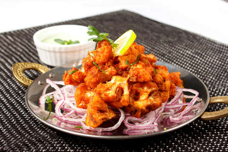 indo: Cauliflower in battered onion with pickled onion