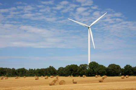a wind energy plant with a field and some trees in front of it, photographed in the summer sun with blue and cloudy sky in the background Stock Photo