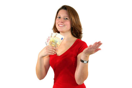 representing: a smiling beautiful young business woman with euro bills isolated on white background
