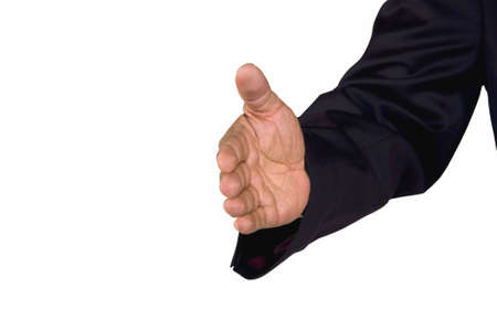 A hand of a senior African-American businessman reached out for a welcoming handshake, isolated on white background Stock Photo - 6473340