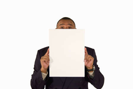 A senior African-American businessman presenting a picture board with copy space in front of his face, isolated on white background Stock Photo - 6473333
