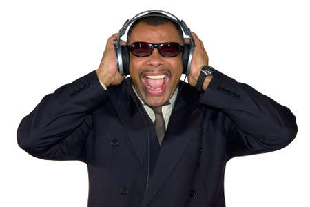 a screaming mature African-American man with sunglasses and headphones, isolated on white background Stock Photo - 6473596