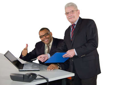a successful interracial business team, isolated on white background photo