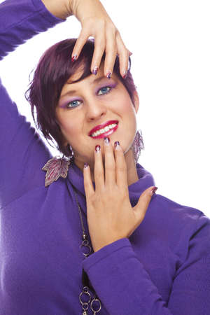french model: A smiling beautiful fashion model showing her acrylic fingernails, shot on white studio background