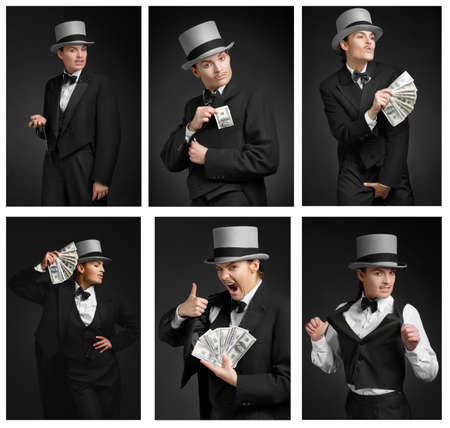 group of gangster girl  Holding dollars watch  Eccentric and emotional photo