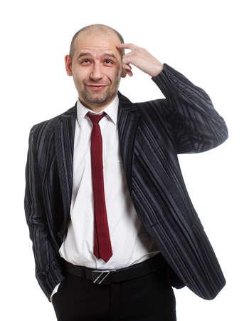 pensiveness: Allegro giovane imprenditore-� in condizione di pensosit� Isolato su bianco