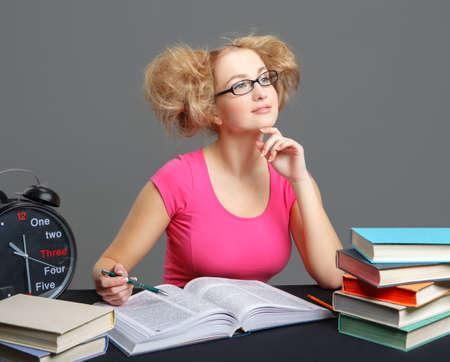 Student doing homework. photo