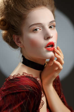 18th: Victotorian lady. Young woman in eighteenth century image. Stock Photo