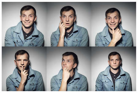 expressing: Collage of young man with various expressions against gray background