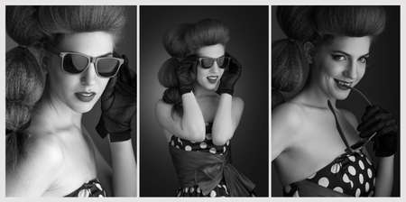 caucasian white: Pin-up style. Black and White Portraits of attractive smiling young woman in sunglasses. Retro image.