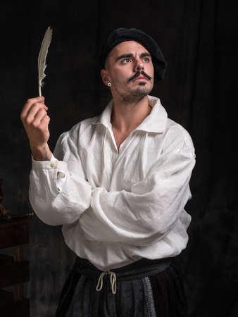 Portrait des Dichters. Ein Mann in einem weißen Hemd und einen Hut trägt. Historische Kostüm.