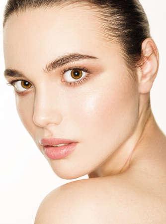 headshot: Headshot beauty young woman over white background. Isolated. Close-up portrait of beautiful girl. Stock Photo