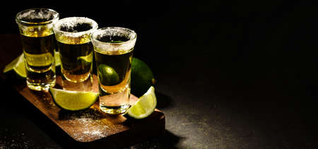 Mexican Gold Tequila with lime and salt on wooden table, selective focus. Copyspace on right.