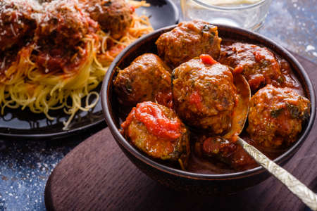 Delicious homemade meat balls in tomato sauce