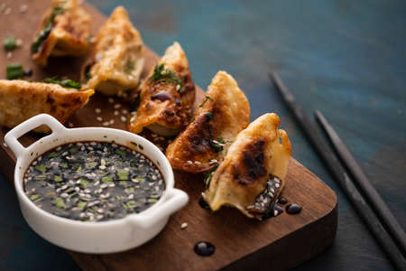 Japanese dumplings snack or side dish called Gyoza or Jiaozi in China Stock Photo