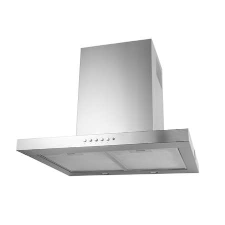 Modern stainless kitchen hood, isolated on white.