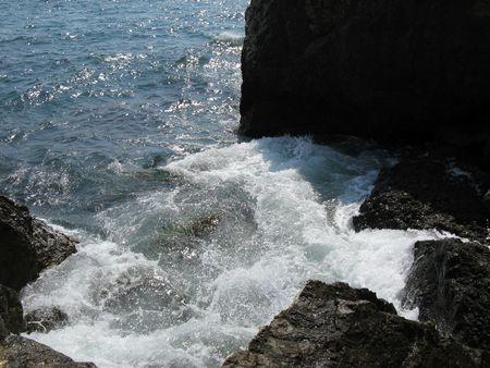 murmur: Coast of sea of Azov in Ukraine. Stock Photo