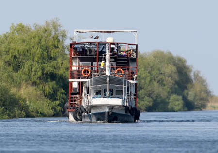 Walk boat for tourists and birdwatchers in the Danube delta near the village of Mile 23