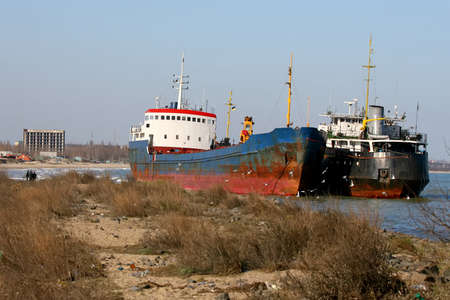 Photos of ships thrown by a storm to the seashore near Odessa