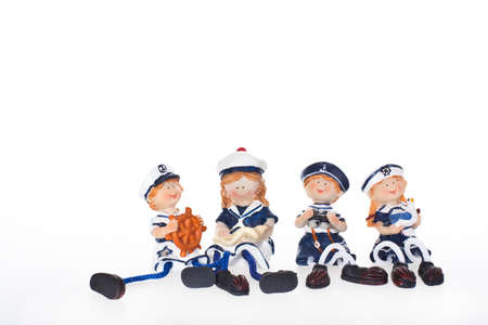 still with four sailors on white background