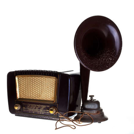 historic radio with loudspeeker Stock Photo