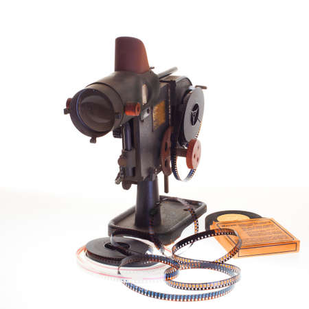 old vintage home filmprojector on white background Stock Photo