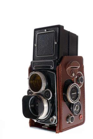 old historic vintage photo camera on white background
