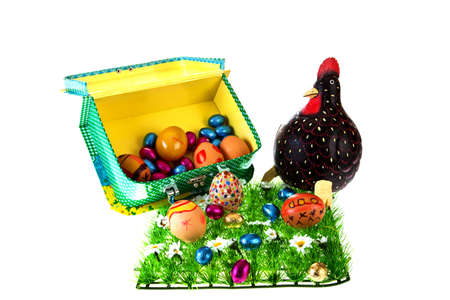 colourfull eastereggs with chicken