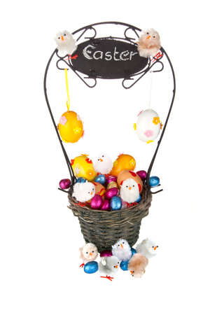easter eggs in basketon white backtround